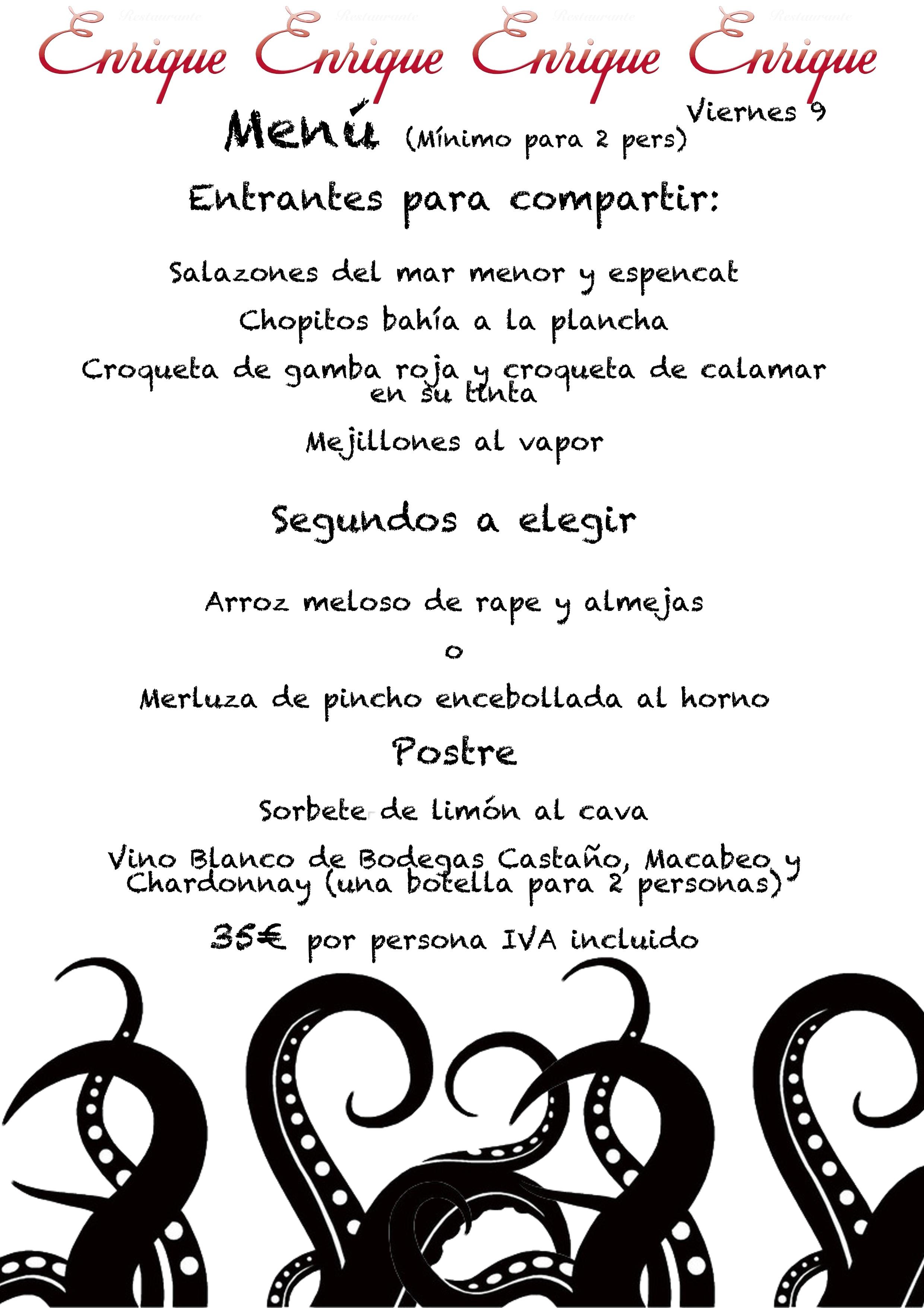 Restaurante Enrique Albir Menú