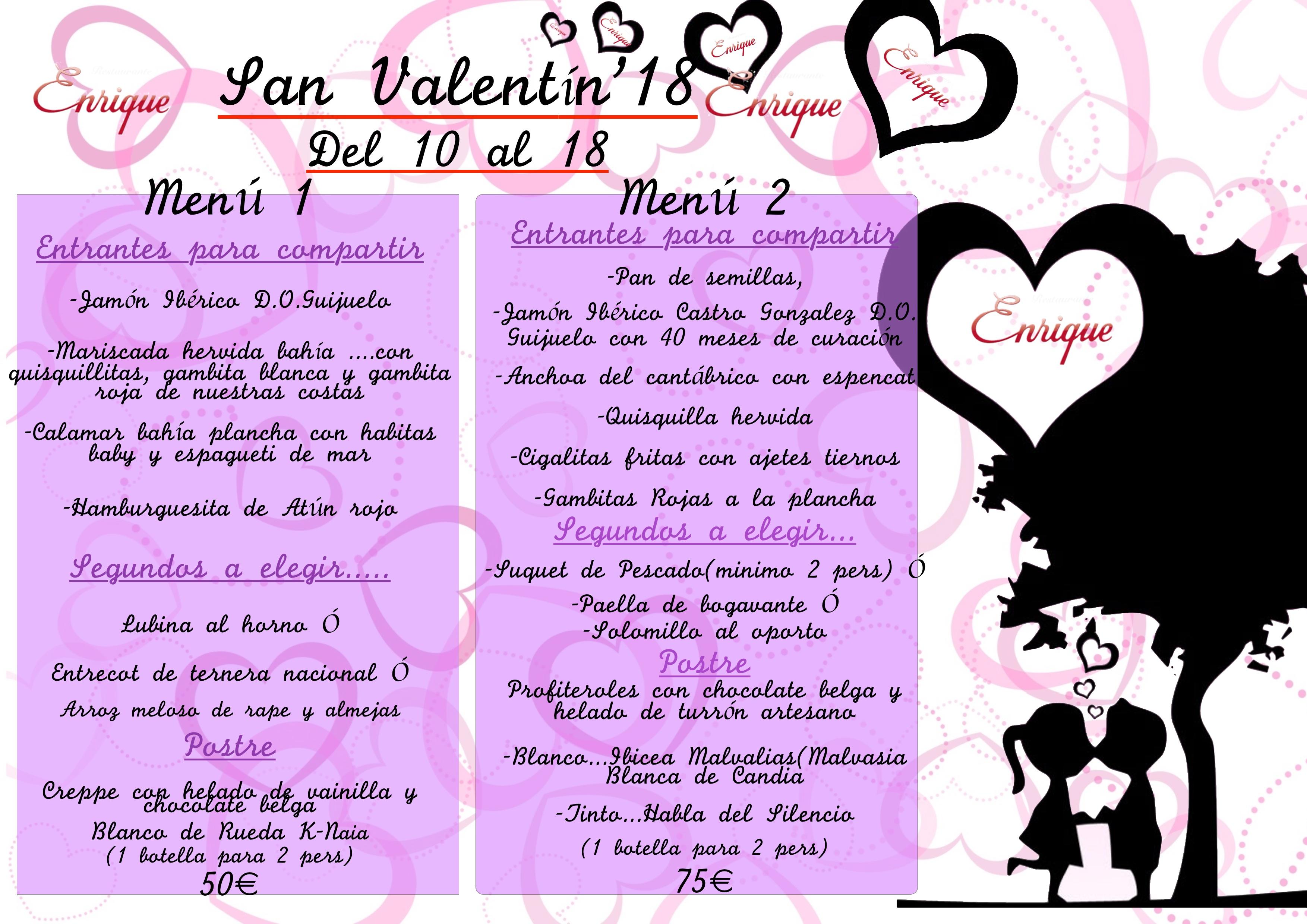 Menú San Valentín 2018